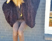 shaggy grunge 90s batwing witchy cocoon wrap. hipster gothic cozy texture fuzzy fur faux fur wrap jacket club kid rave girl festival shrug