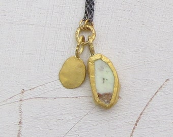 Lemon Jade Pendant - Solid Gold & Silver Necklace - 24k Gold Pendant - Charm Necklace -Ready to Ship