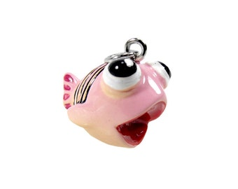 SALE! 3-D Hand Painted Resin Pink Fish Charm, Qty 6