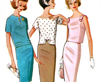 McCall's 6854 Vintage 60s Sewing Pattern for Misses' Skirt and Three Tops - Uncut - Size 14 - Bust 34