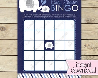 Elephant Baby Shower Bingo Cards - Navy Blue and Gray Baby Shower Game - Instant Download - Boy Baby Shower Games Printable - Bingo Game