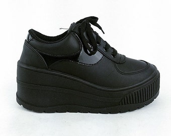 90's Guess Black Nylon Reflective Logo Platform Wedge Lace Up Sneakers made in Spain // 6 // UNWORN!