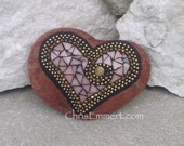 Mosaic Rock, Gardener Gift, Home Decor, Pink and Gold Heart, Mosaic Garden Stone