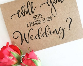 Wedding Reading Card, Will You Recite a Reading at Our Wedding Card, Wedding Proposal Cards, Wedding Party Card, Rustic Wedding Reading Card