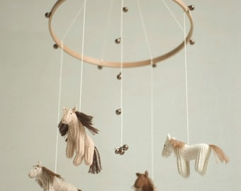 baby mobile - nursery mobile - horse mobile - pony mobile  - DREEMS RIDER - made to order
