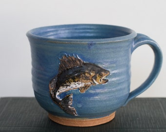 Stoneware Mug with Hand Sculpted Minnesota Walleye Fish including Artist Stamp and Inscription dad cabin fishing lake water cottage woods mn