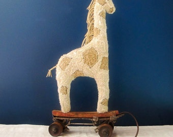 Primitive Giraffe Pull Toy Hand Hooked