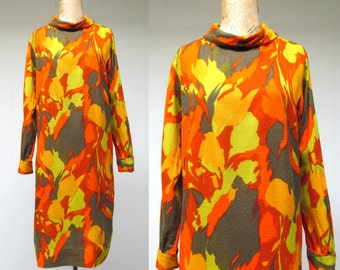 Vintage 1960s Dress / 60s Abstract Fall Color Leaf Print Shift / Medium