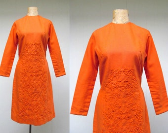 Vintage 1960s Dress / 60s Orange Linen Boho Embroidered Sheath / Small