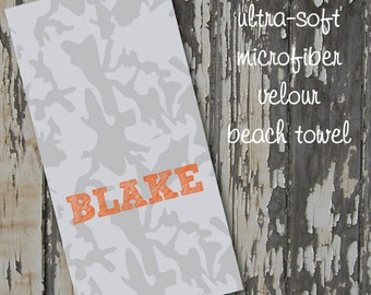 monogrammed CAMO beach towel - rouge junior - ultra-soft 30x60 microfiber velour - enter custom options in message to seller at checkout