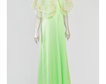 Vintage 70s Evening Gown Boho Maxi Dress and Capelet Sheer Floral Green Dress Empire Long Formal Dress 1970s Dress Bohemian Dress (S/M)