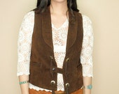 Vintage Western Suede Concho Tassel Cowboy Vest