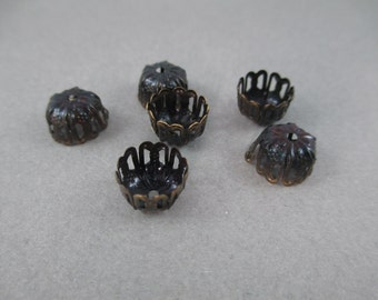 9mm Antique Bronze Filigree Bead Caps - 6 Pieces