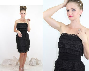 50's Cocktail Party Dress Vintage 1950s Layered LACE Strapless Sheer Black  // TatiTati Style on Etsy