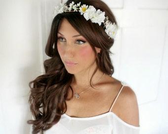 Daisy, Bridesmaide flower Crown, Purple, bridal headpiece, wedding flower crown, rustic head wreath, wedding headband, bridal hair