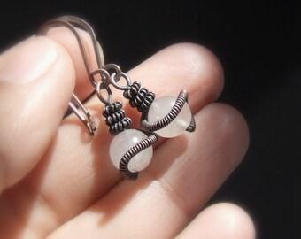 Rose quartz earrings, tiny dangle earrings, love healing stone jewelry, rustic copper jewelry