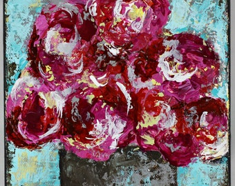 Pink, red floral, still life, original art, painting
