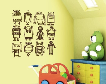 Robots wall decal - removable multiple robots decal- boys room/ nursery decal