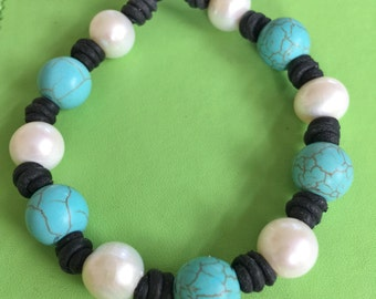 Leather, Freshwater Pearl and Turquoise Bracelet