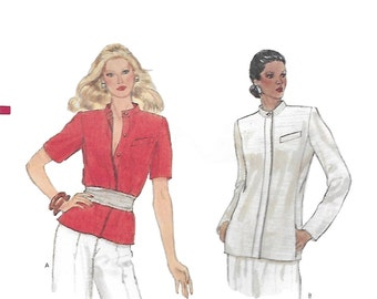 Vogue 8237 Misses 70s Semi Fitted Jacket Above or Below Hip Line Sewing Pattern Size 6, 8 Bust 30.5 to 31.5