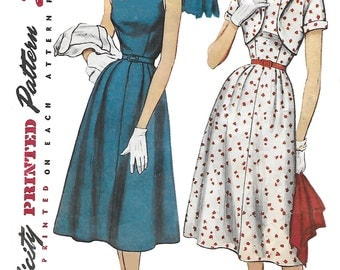 Simplicity 4709 Misses' 40s One-Piece Dress and Bolero in Half Sizes  Sewing Pattern Bust 39