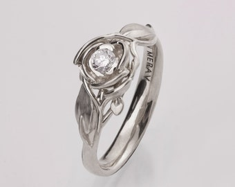 Rose Engagement Ring No.3 - 14K White Gold and Diamond engagement ring, engagement ring, leaf ring, flower ring, art nouveau, vintage