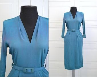 1940s Teal Front Pocket Dress