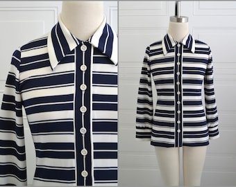 1970s  Act III Navy and White Striped Shirt