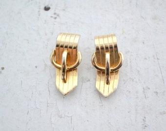 1940s Marboux Belt Buckle Earrings