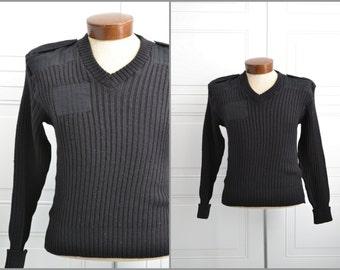 1980s Citadel Military Black Wool Sweater