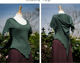 Stacia Top with Hood ~ Faerie Top ~ Forest Green Cotton Jersey ~ Renfest ~ Made to Measure ~ Petite to Plus Size ~ technodolly ~