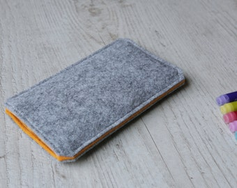OnePlus 3, OnePlus 2, OnePlus X, OnePlus One sleeve case cover pouch handmade light felt and orange