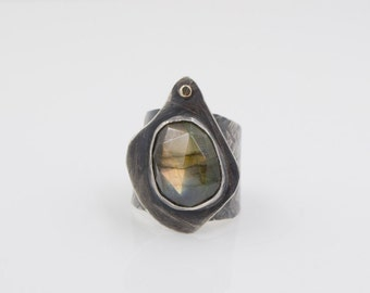 Labradorite Hammered Sterling Silver and 10kt Gold Dot Cuff Ring