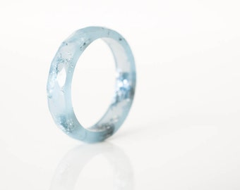 ring size 7.5 | thin multifaceted eco resin ring | icy powder blue with metallic silver leaf flakes
