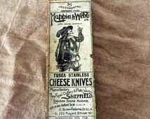 "Mappin & Webb ""Tusca Stainless Cheese Knives"" original box. Fabulous!"