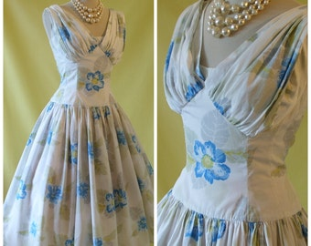 Horrockses Fashions 50s Dress / 1950s Cocktail Evening Dress / Subtle Floral Print / Full Skirt / Dropped Waist / S Small M Medium