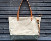 Waxed canvas bag / carry all with  leather handles and double waxed canvas bottem COLLECTION UNISEX