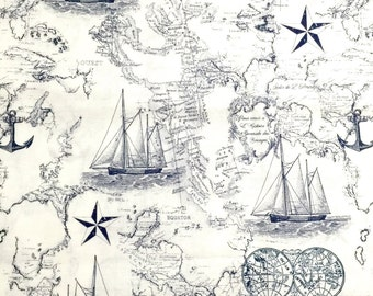 Nautical fabric, Nautical map 100% cotton fabric for Quilting and general sewing projects.