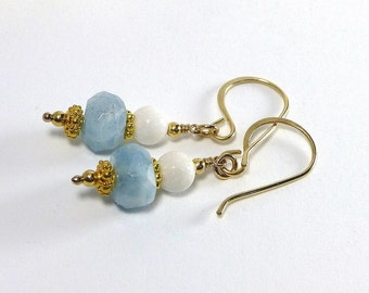 Aquamarine Earrings, Gold Filled, Blue Stone, Birthstone Jewelry