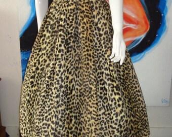 1950's ROWR Leopard Soft Fur Full Skirt Bad Girl Jayne Mansfield Pin up KORDAY Dress  Rockabilly 26 waist   Vlv
