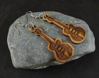 Acoustic Guitar Wooden Dangle Earrings - Canary Wood - Great gift for a birthday or anniversary