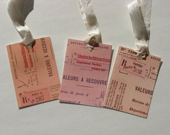 Set of 6 - French Receipt Hang Tags