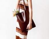 SALE Back To School Chestnut Brown Leather Tote bag No.Tl- 9002