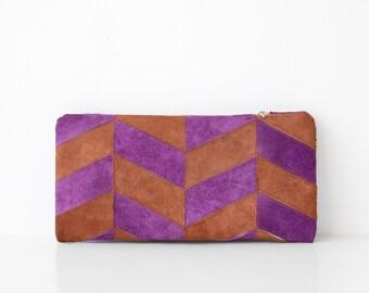 SPRING SALE Purple & Camel Chevron Pouch No. LHS-601