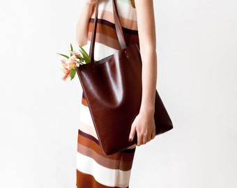 Back To School SALE Chestnut Brown Leather Tote bag No.Tl- 9002