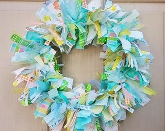 Newborn Baby Boy Fabric Wreath, Nursery Decor, New Baby Boy, Baby Shower Decoration, Boys Room Decoration, Wreath for Hospital Door
