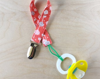 Pacifier Clip - Orange Floral
