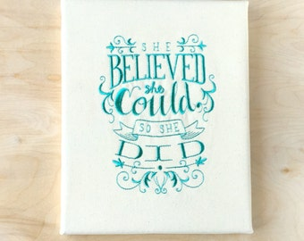 Embroidered Canvas Wall Art - She Believed She Could