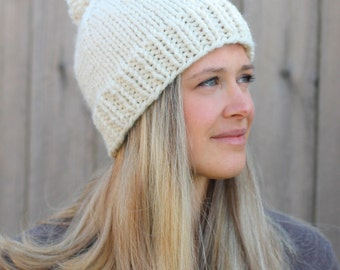 Belle Beanie Woman's Knitted Hat with Pom Pom in Fisherman Off White- Tan- Other colors available