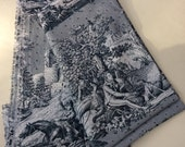 Vintage French Toile Fabric - All Cotton - Fabric Yardage - Home Sewing - Quilting Fabric